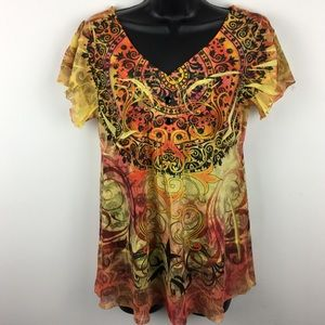 ONE WORLD Shirt Top Blouse Yellow Loose Petite L